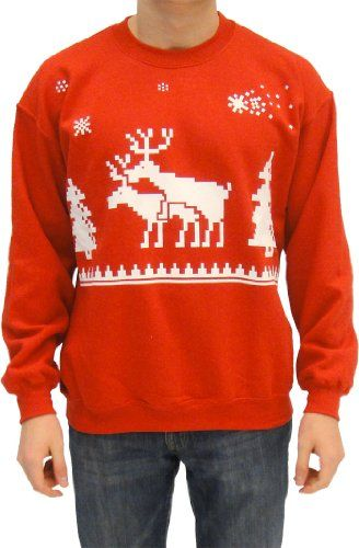 Ugly Christmas Humping Reindeer and Pine Trees Adult Red Sweatshirt Sweater (Adult Large) TV Store,http://www.amazon.com/dp/B00AI9BQ7O/ref=cm_sw_r_pi_dp_JbqXrb01FF7147B8