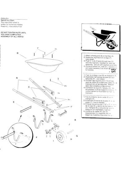 Sears Craftsman Wheelbarrow Parts