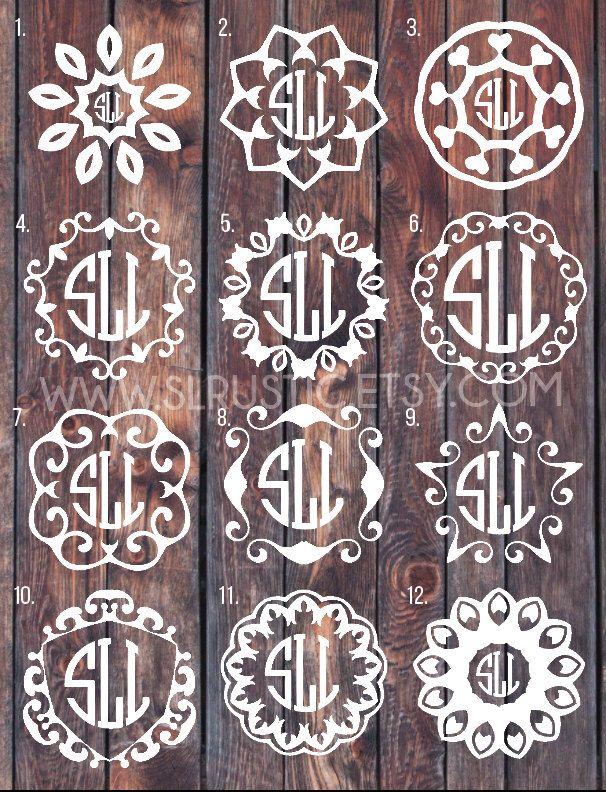 Monogram decal, Monogram sticker, circle monogram, greek letters monogram, yeti cooler monogram decal, laptop decal, car decal. by SLrustic on Etsy https://www.etsy.com/listing/278946008/monogram-decal-monogram-sticker-circle