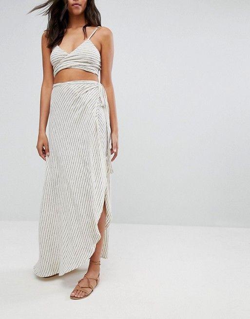 ASOS Minimal Stripe Jersey Tie Beach Sarong Skirt Co-Ord at asos.com | @giftryapp