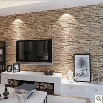 Buy Brief modern stereo brick stone tv background wall wallpaper ...