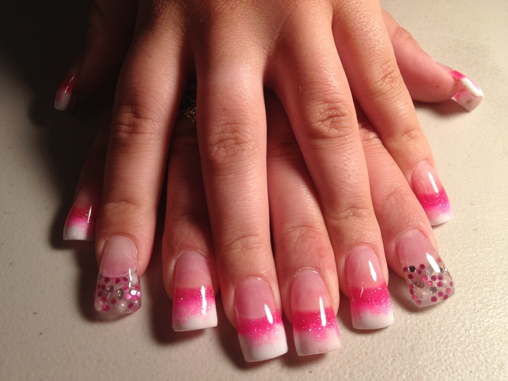 hot pink nails with diamonds-#20