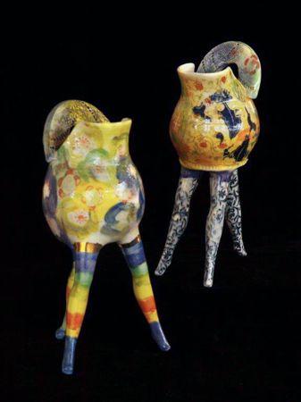 Michaela Kloeckner    Little Jugs with Attitude - 2013   Wheelthrown and slip cast Earthenware, ceramic under glaze colours, tissue paper print, 24ct gold lustre.   22(H) x 9(W)cm