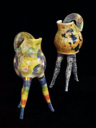Michaela Kloeckner    Little Jugs with Attitude - 2013   Wheelthrown and slip cast Earthenware, ceramic under glaze colours, tissue paper print, 24ct gold lustre.   22(H) x 9(W)cm