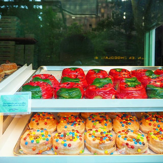 Loved the look of all the donuts especially #melondegeneres, named after everyone's favourite talk show host! With hot pink, sour watermelon flavoured icing and tiny choc chips, it's a perfect look for Summer in Sydney.