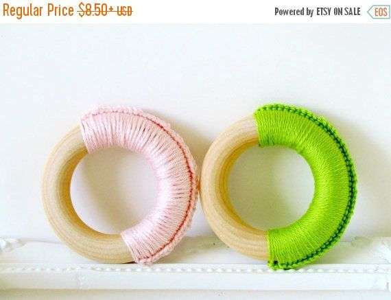 SALE 20% OFF Eco Teethers for Baby Girl / Teething Rings / Natural Wood Teething Toy for baby girl by FairyOfColor on Etsy