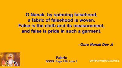 GURBANI.WISDOM.QUOTES (SGGS): Quote 302/393 - Guru Nanak Dev Ji (Fabric)
