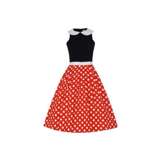 Retro šaty Lindy Bop Emmy Šaty ve stylu 50. let. Toto je opravdu to pravé retro! Dokonalé šaty v klasické barevné kombinaci - červená, černá, bílá. Skvělý střih zajistí dokonalé podtržení ženských křivek, decentní límeček a bílá úzká stuha v pase, puntíky na rozšířené sukni přitáhnou pozornost vašeho okolí. Příjemný materiál - živůtek 100% polyester, límeček a sukně 97% silná bavlna s 3% podílem elastanu pak zajistí vaše pohodlí při nošení. Dokonalý objem sukně zajistí spodnička, kterou…