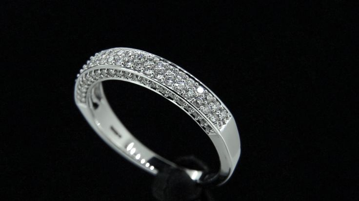 'JANELLE' -- Luxurious Double Band Half Hoop set with Baby Brilliant Cut Diamonds along side faces of the Shank in 18ct White Gold Diamond Wt. 0.47carat.