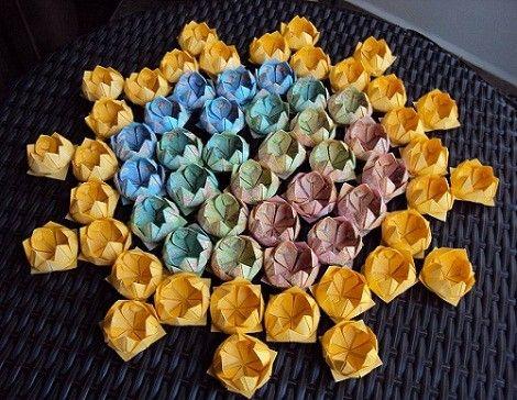 forminhas de doces de origami