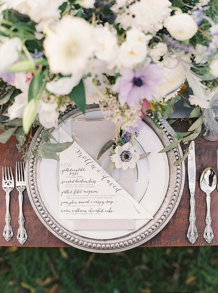 Early Fall Outdoor Wedding Inspiration at the Regent at Stone House | Claire Duran Weddings & Events | DC, MD, VA, and Destination || As Seen In: Style Me Pretty. Photography: Amelia Johnson. Floral: Blossom + Vine. Rentals: White Glove Rentals ft. Silver Beaded Trim Chargers, Michaelangelo Flatware, Platinum China Plating.