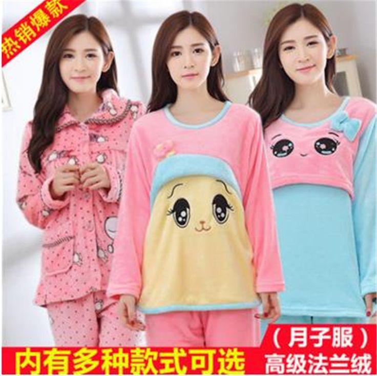 Autumn Winter Pregnant women Pyjamas Sets Flannel Long Sleeve Female Sleepwear Breast Feeding Clothes  Thick Warm Suit m6 #Affiliate