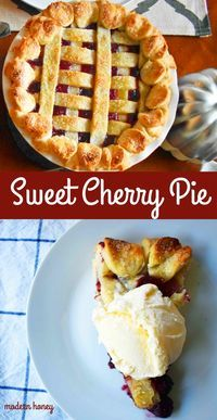 Sweet Cherry Pie with a homemade buttery, flaky pie crust, topped with vanilla bean ice cream. A classic cherry pie recipe. www.modernhoney.com