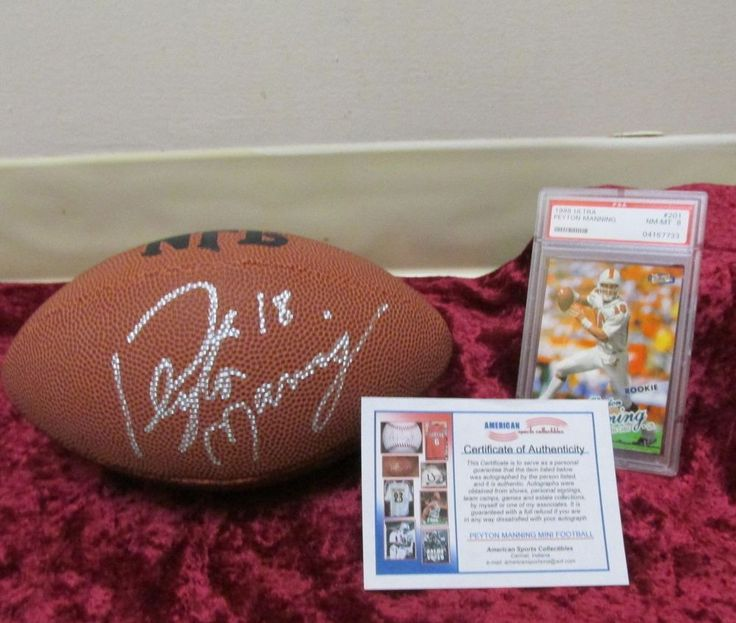 Peyton Manning Autographed Football w/COA Mini Wilson,1998 Ultra Rookie Card PSA #Wilson #IndianapolisColts