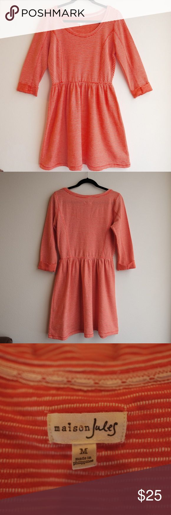 "Maison Jules Orange & White Skater Dress Maison Jules Orange and White 3/4"" Sleeve Skater Dress Size Medium  100% cotton Length: 33.5"" Bust: 18"" Shoulder Width: 15"" Sleeve Length: 13.5"". EUC comes from a pet free and smoke free home. Happy poshing! Maison Jules Dresses"
