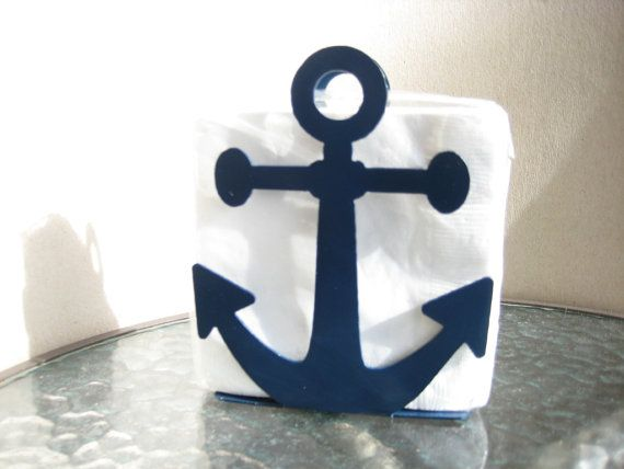 Anchor Napkin Holder Letter Holder Blue by PawDellHobbyShop