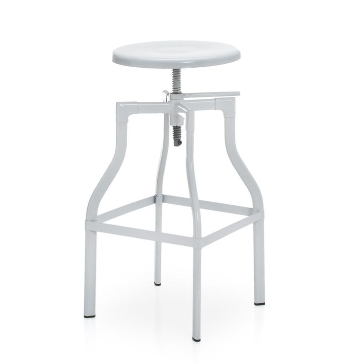34 euro Sgabello in acciaio laccato di bianco in stile industriale.  Include poggiapiedi per una maggiore comodità. Ottimo per l'arredamento di sale da pranzo, bar o ristoranti.  Altezza regolabile.