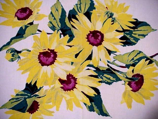 Vintage Wilendur Summer Sunflower Cottage Floral Classic Tablecloth Excellent | eBay