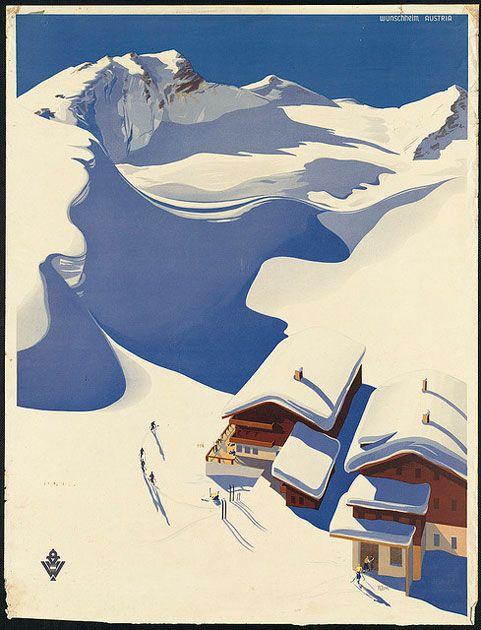 Paradise.Vintage Posters, Travelposters, Picture-Black Posters, Travel Photos, Illustration, Art Prints, Ski Lodges, Vintage Travel Posters, Austria