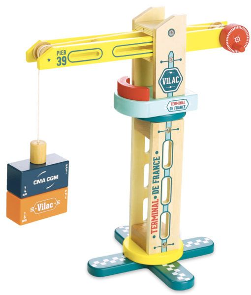 NEW VilaCity Crane. If you find wooden cubes lacking originality, this wooden toy Vilac is made for you! Children will have a long time to unload and reload the wooden containers. The cubes are magnetised, they can be lifted and handled from the Vilac truck