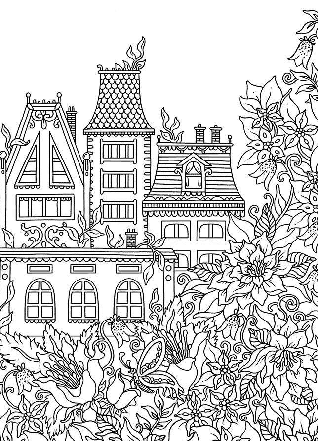 Раскраски сложные для взрослых антистресс «Дом с цветами ...