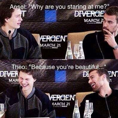 Ansel Elgort and Theo James the fault in our stars...HAHAHAHA