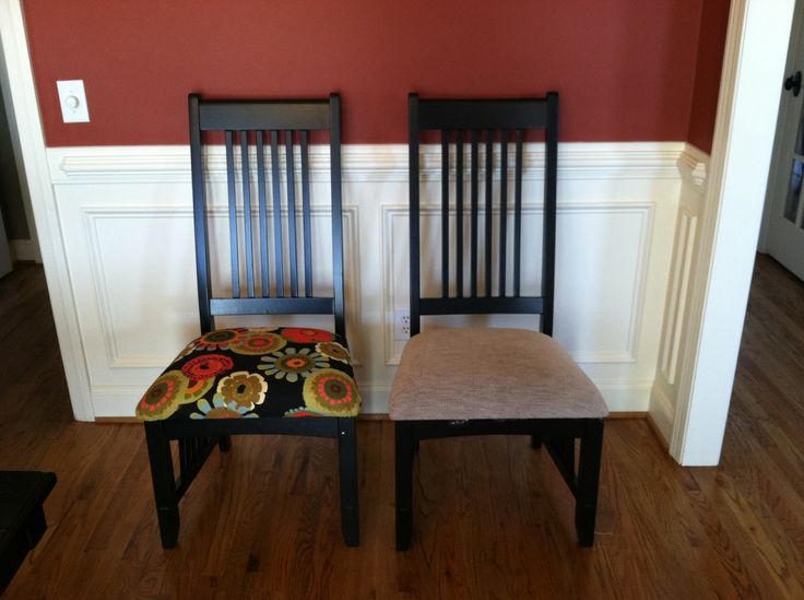Recovered dining room chairs.  Fabric from Hobby Lobby with a coupon.  Less than $40 and only two hours.   The pop of color makes the room happy.