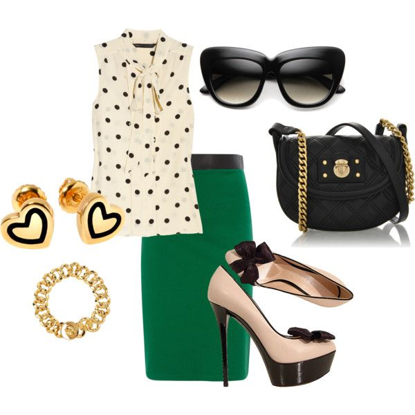 Love the pop of color the green skirt brings to this outfit.
