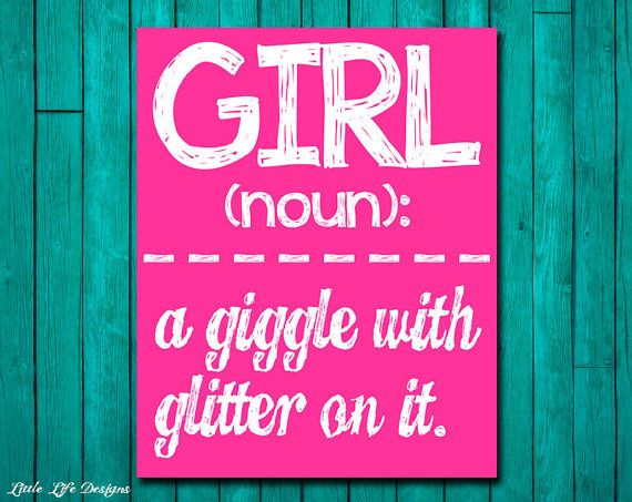 Girl Wall Art - Girl Room Decor - GIRL: a giggle with glitter on it. Wall Art and Home Decor