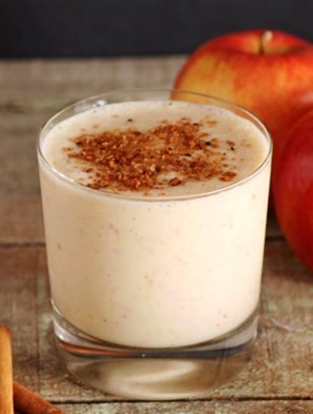 Apple Pie Smoothie Recipe -  1 apple, sliced, not peeled; ½ teaspoon cinnamon; ⅛ teaspoon fresh grated nutmeg; ½ cup 0% fat Greek Yogurt plain; 2 tablespoon skim milk;  1 cup Ice; Cinnamon sugar sprinkles, optional