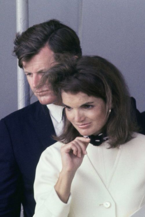 Jackie and Ted Kennedy. Strange that of all the photos I've got of her, I like this best. And it's both of them, not just her.