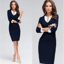 Moda vestidos Vintage elegante com decote em v mulheres trabalho desgaste de manga comprida vestidos de trabalho para mulheres sexy formal uniforme escritório mini vestido