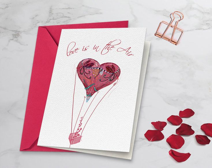 Red heart as a hot air balloon, Valentine's print, Valentine's card for her, Girlfriend card, Card for boyfriend, Valentine's card for him http://etsy.me/2Eun4Ry #papergoods #engagement #valentinescardhim #girlfrie