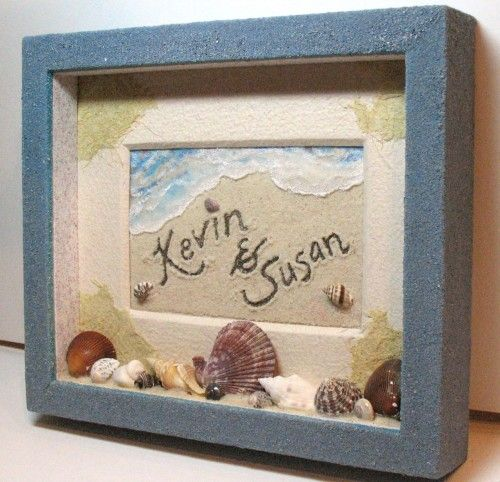 Customized Beach Sand Painting-(take a picture) Shadowbox Sand Frame w Natural Shells