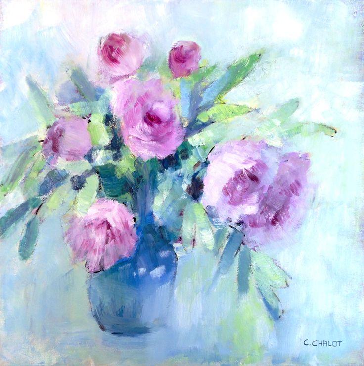 Cécile Chalot - Bouquet de pivoines dans un vase bleu huile sur bois 46*33 cm