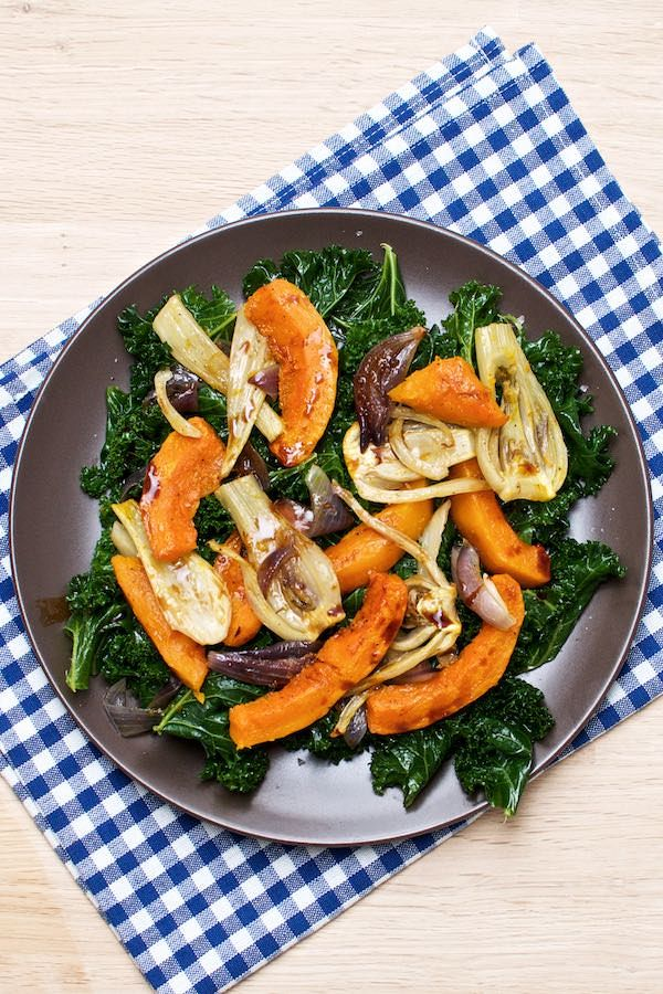 Rich autumn salad with baked pumpkin, kale, fennel and aged balsamic vinegar