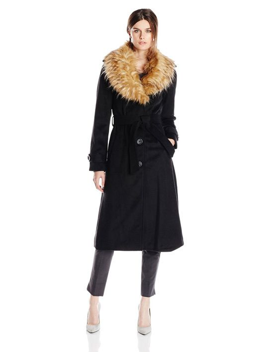 Steve Madden Women's Long Coat with Belt and Removable Faux-Fur Collar