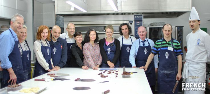 Head Chef de Pâtisserie Sébastien Lambert with his students for the day: French Ambassador to NZ Mr. Francis Etienne and guests of the Alliance Française!