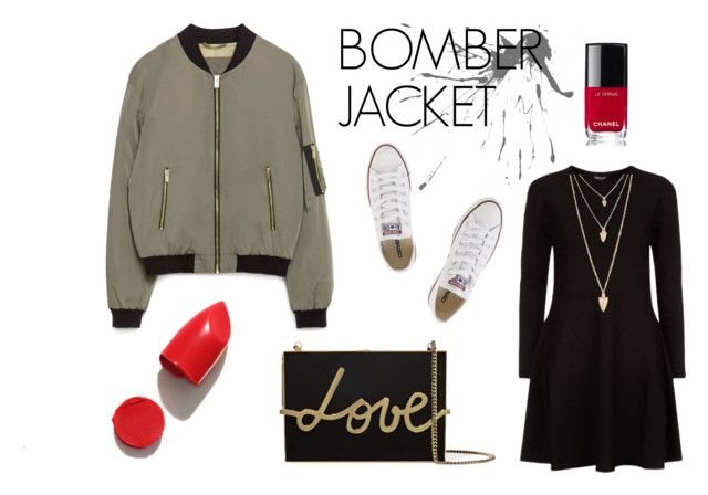 BOMBER 3 by patrycja-bobek on Polyvore featuring moda, DKNY, Zara, Converse, Lanvin, Forever 21, NARS Cosmetics and Chanel