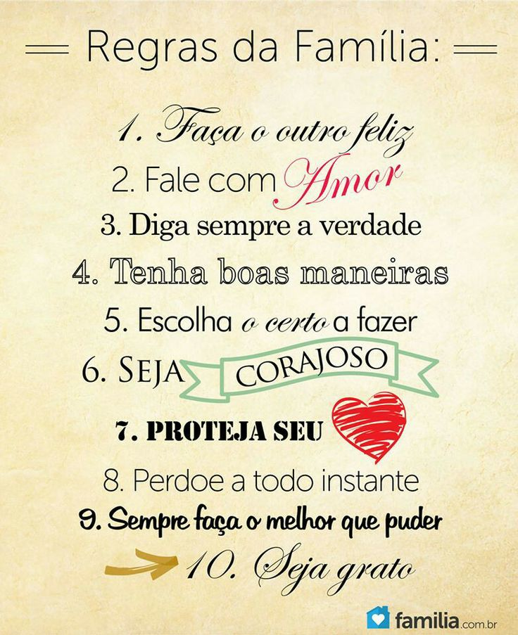 Family rules 1 make each other happy 2 Make Love 3 Always tell the truth 4 Have good manners 5 Choose the right thing to do 6 Be brave 7 Keep your heart 8 Forgive all the time 9 Always do the best you can 10 Be Grateful