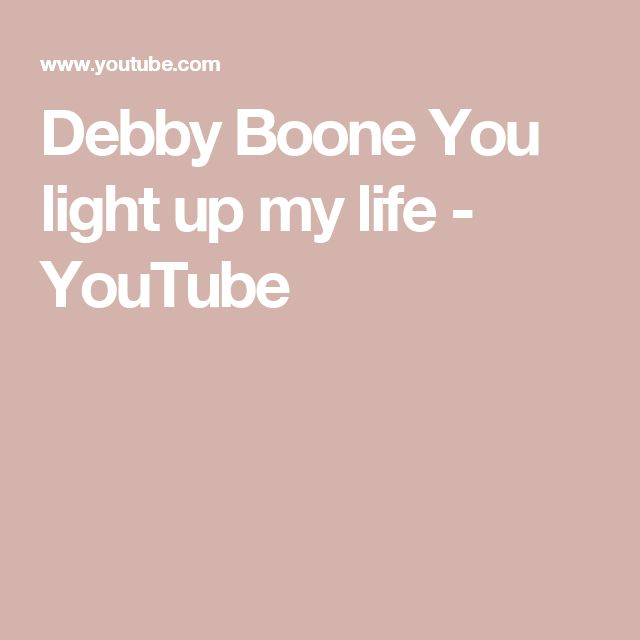 Debby Boone You light up my life - YouTube
