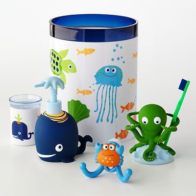 Jumping Beans Fish Tales Bath Accessories For The Boysu0027 Bathroom