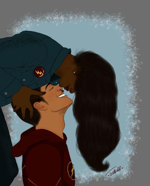 Iris West x Barry Allen kisses fanart by iriswcst #westallen