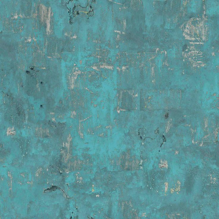 Tapete für das Bad - Vliestapete Beton Optik petrol türkis verwittert Steinwand