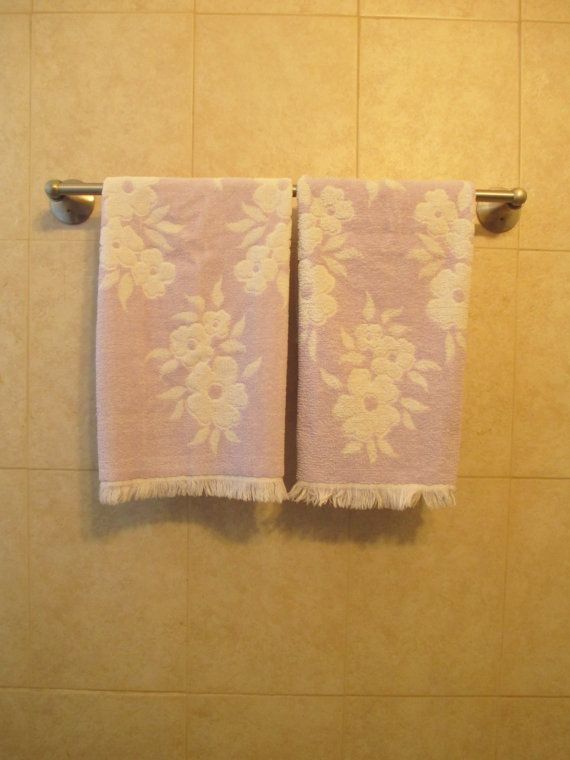 Vintage Hand Towels Purple Floral Towel by LuckyPennyTrading