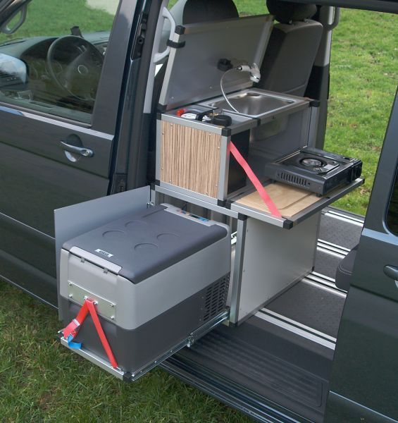 vw caravelle mid rail mounted kitchen pod