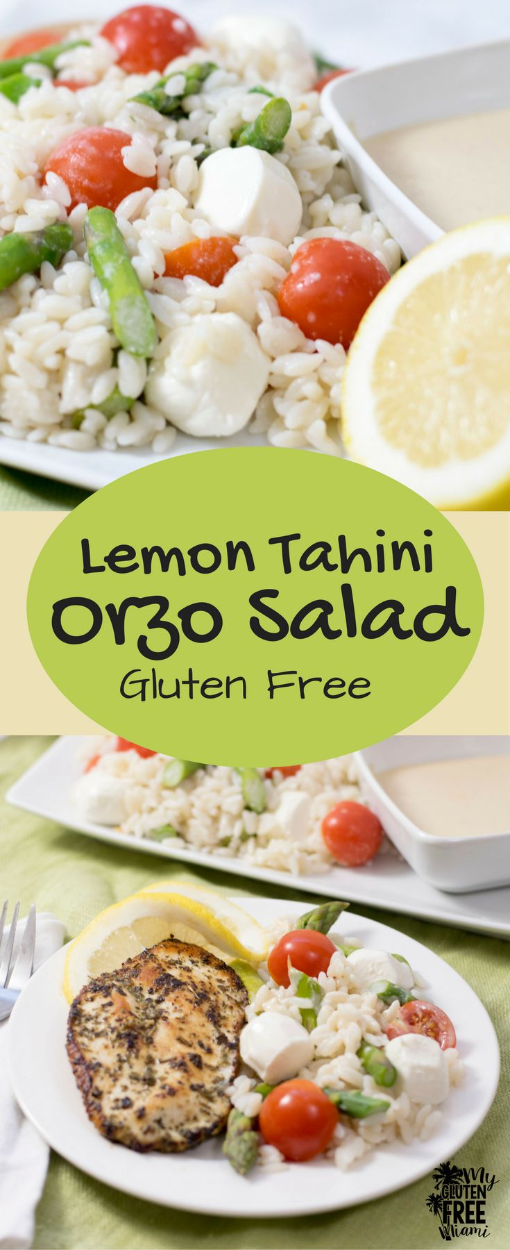 With a tangy Lemon Tahini dressing, this Gluten Free Orzo Salad with fresh tomatoes, asparagus, and mozzarella is sure to please! via @GLUTENFREEMIAMI