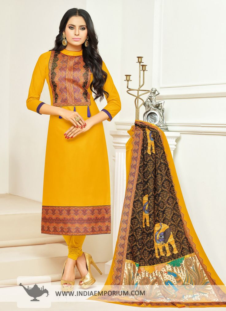 Delightful Yellow Cotton Printed Churidar Suit