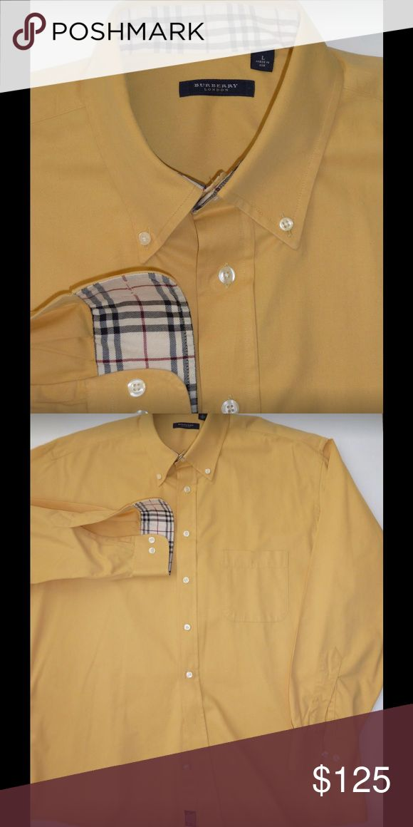 Burberry men's shirt yellow chamois, like new Excellent, like new. Tag says L but it fits more like XL. Fabric is a thicker cotton, chamois-like. Burberry Shirts Casual Button Down Shirts