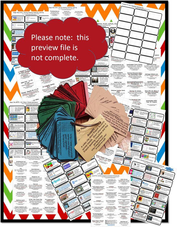 Le Porte-Clés Ressource des 120 sites pertinents pour enrichir nos classes en FLS pour les étudiants du 21ième siècle. This colour coded key ring resource is an invaluable low-tech tool to keep track of some wonderful user-friendly, mostly free sites, on the web. Wow your students. TPT$
